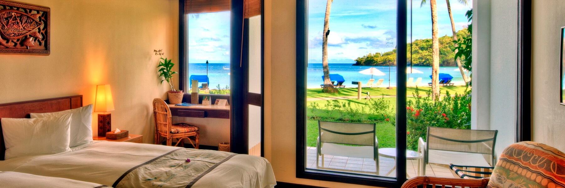 Die Oceanview Zimmer des Palau Pacific Resorts verfügen über die gleiche Ausstattung wie die Gardenview Zimmer, jedoch mit Blick auf das Meer.