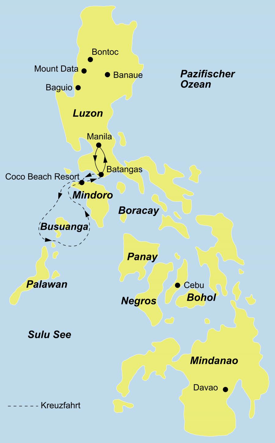 """Reiseroute Philippinen Tauchen mit der """"Discovery Palawan"""""""