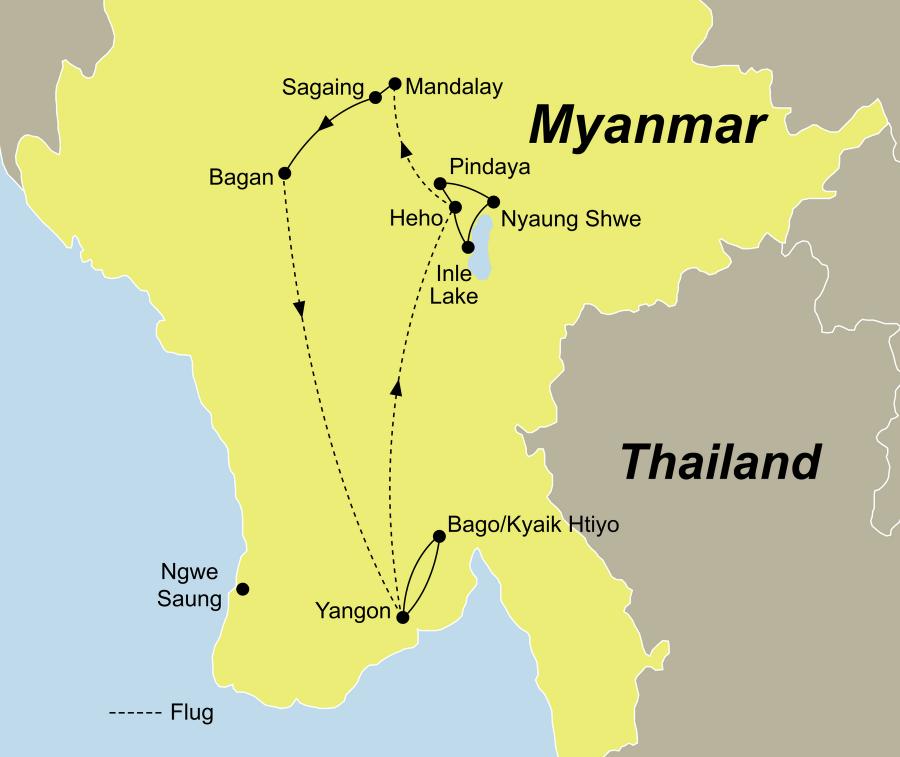 Die Faszination Myanmar Rundreise führt von Yangon über Bago und Bagan nach Yangon