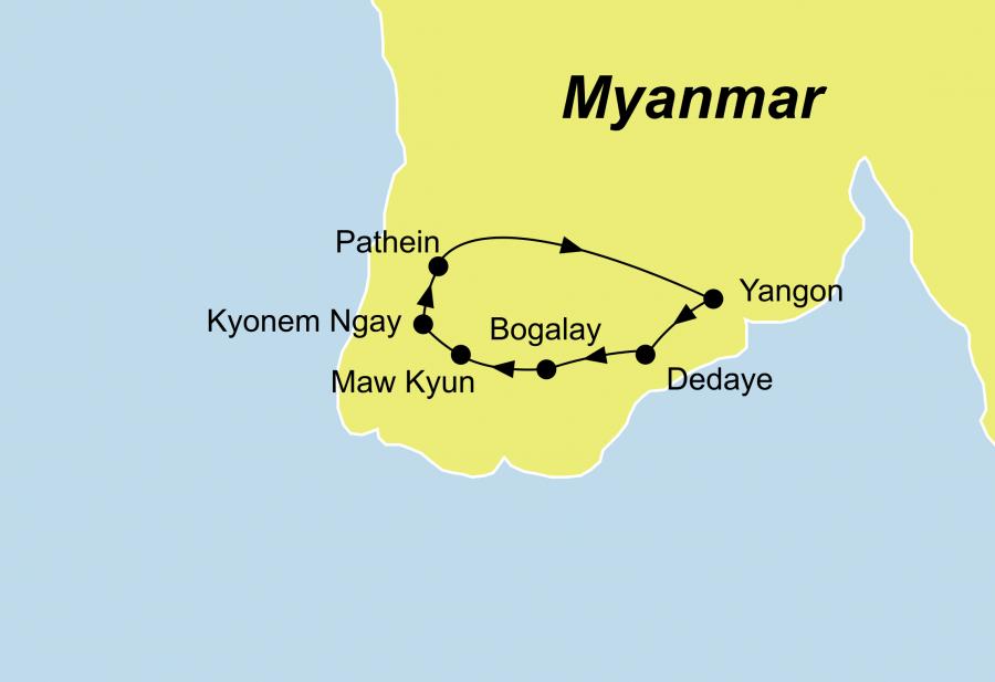 Die Ayeyarwaddy Delta Rundreise führt von Yangon über Bogalay und Pathein nach Yangon
