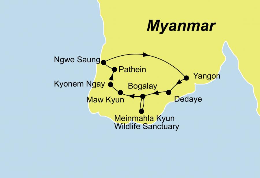 Die Ayeyarwaddy Delta-Rundreise mit Baden Ngwe Saung Beach führt von Yangon über Bogalay nach Yangon