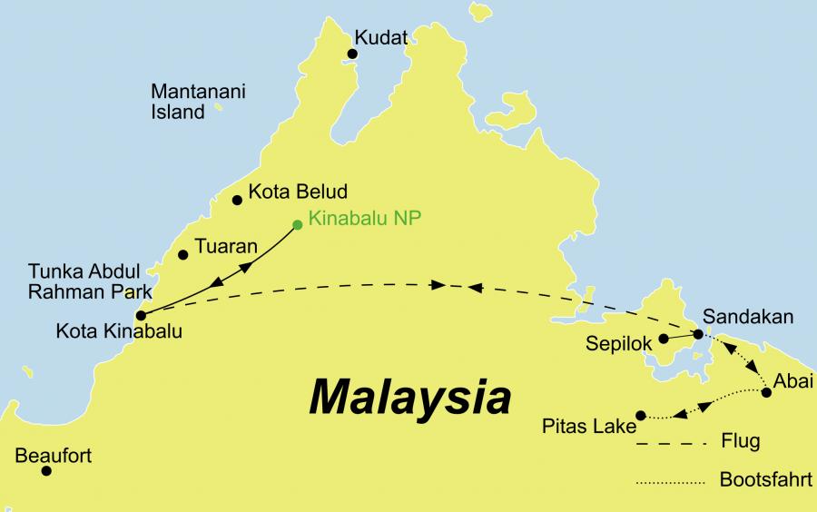 Die Borneo Rundreise Wildlife Borneo und Baden Sabah führt von Kota Kinabalu über Sabah
