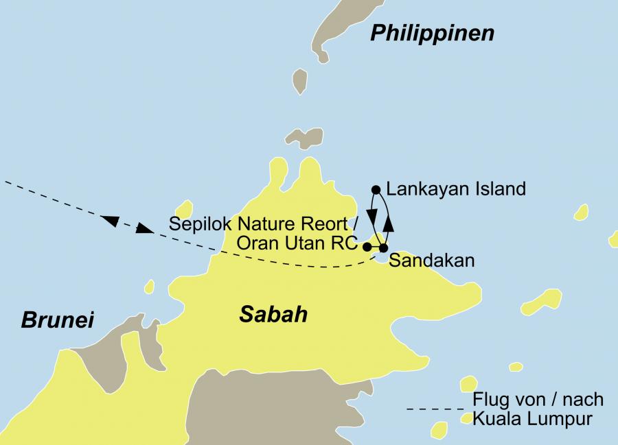 Die Borneo Reise Orang Utans und Tauchen Reise führt von Sandakan nach Lankayan Island