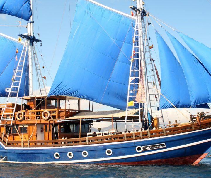 """Das Segelschiff """"Plataran Felicia"""" ist ein klassischer Phinisi Schoner der über insegesamt 6 komfortable Doppelkabinen verfügt."""
