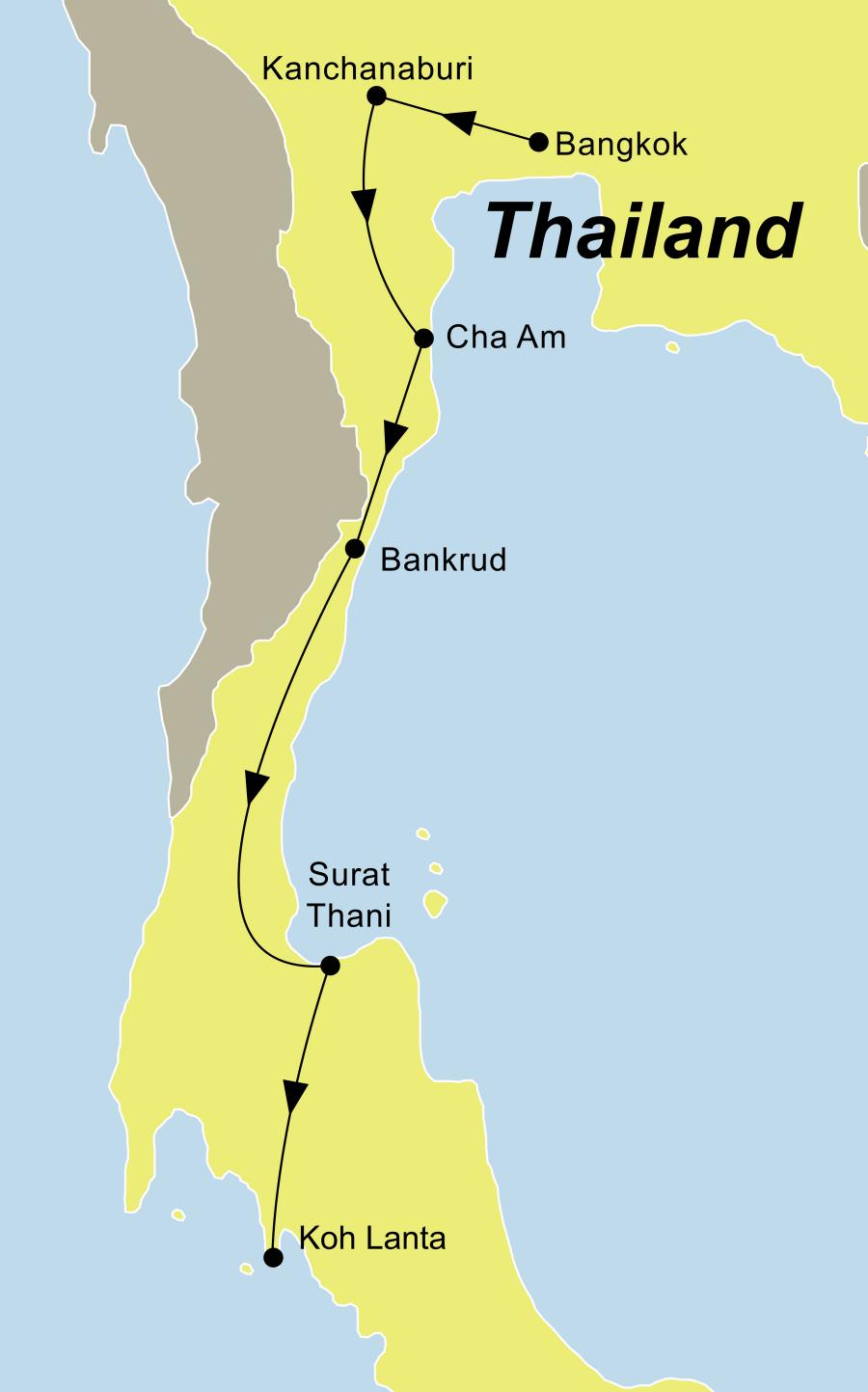 Der Reiseverlauf zu unserer Thailand Reise führt von Bangkok über Kanchanaburi – Schwimmende Märkte – Petchaburi – Cha Am – Prachuapkirikan – Bang Saphan – Surat Thani nach Koh Lanta