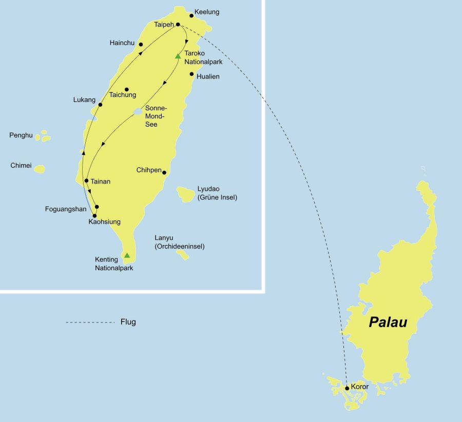 Der Reiseverlauf zu unserer Taiwan-Mikronesien Reise startet in Taipeh und endet in Koror.