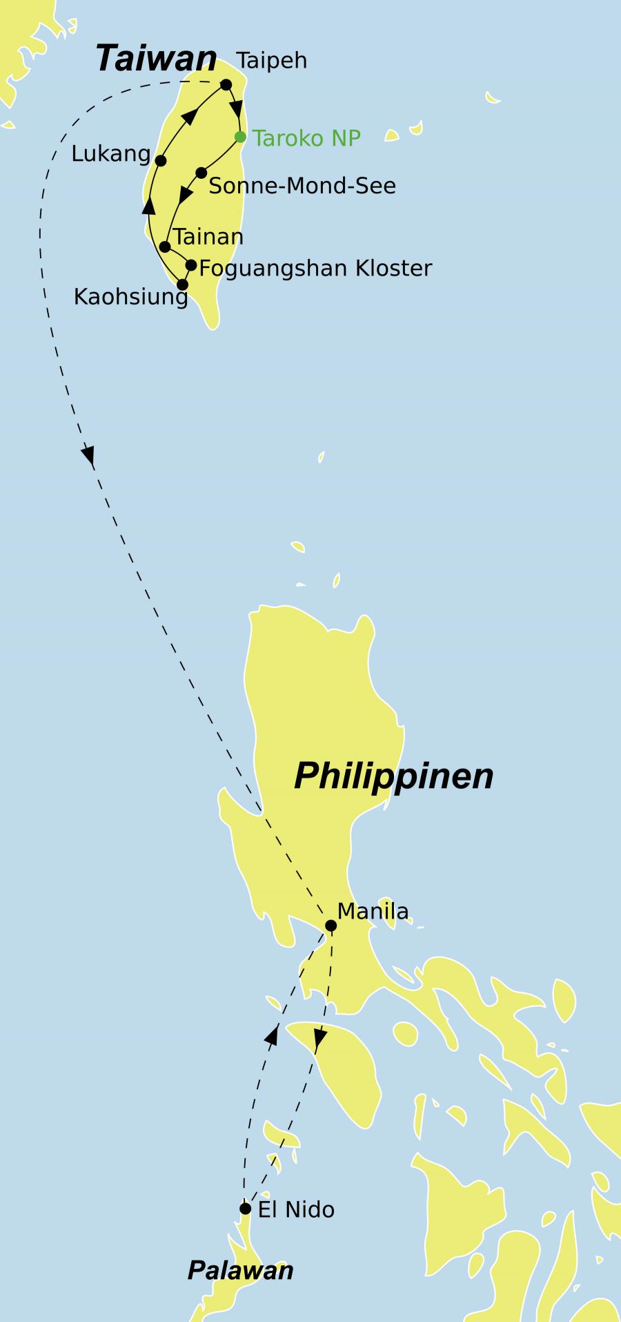 unserer Taiwan-Mikronesien Reise startet in Taipeh und endet in El Nido.