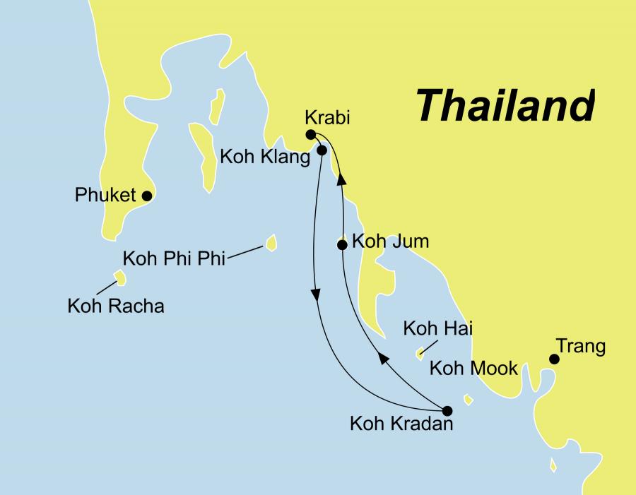 Die Thailand Rundreise führt von Koh Klang über Koh Kradan nach Koh Jum