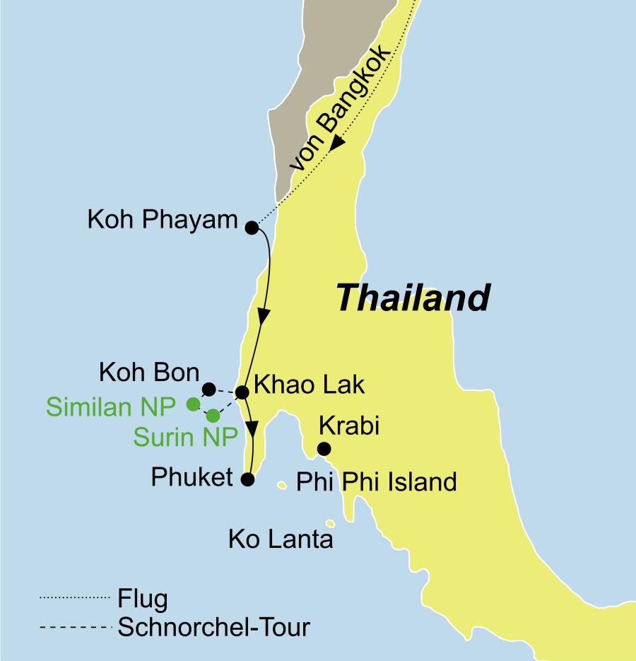 Der Reiseverlauf zu unserer Thailand Reise führt von Bangkok über Koh Phayam zu einer Schnorchel Kreuzfahrt Andamanen See (Khaolak – Similan Nationalpark – Surin Nationalpark)