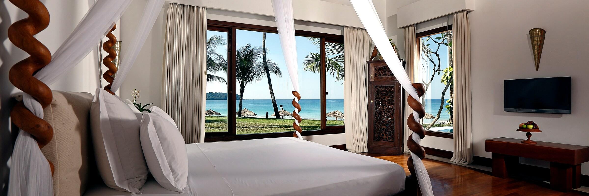 Die Innenansicht mit grandioser Aussicht der luxuriösen Villen des Ngapali Bay Villas & Spa