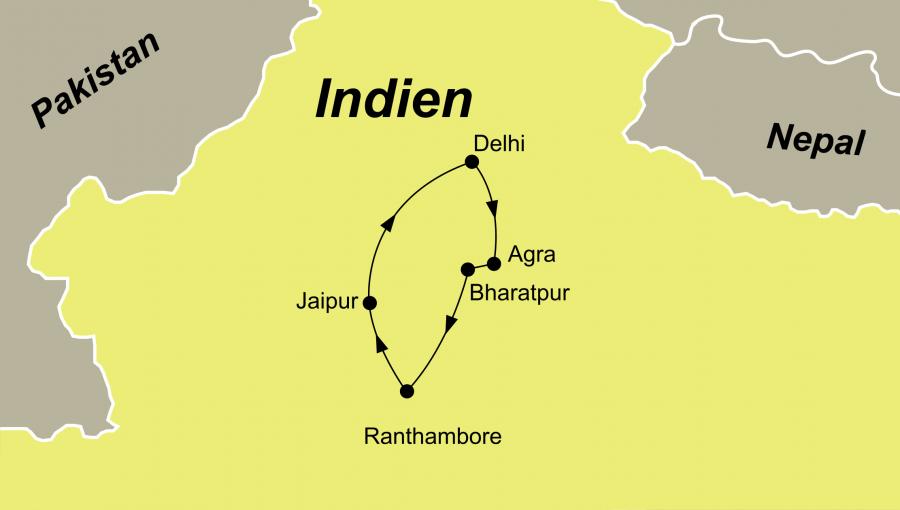 Die Nordienen Rundreise führt von Delhi nach Agra über Ranthambore nach Jaipur und zurück