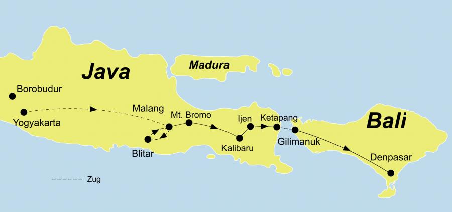 Die Java Intensiv Rundreise führt von Jakarta/Java bis nach Denpasar/Bali