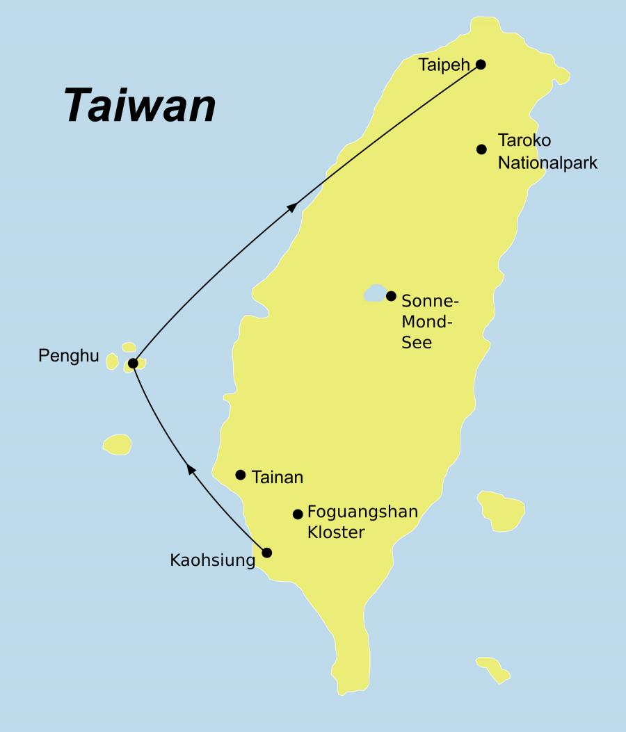 Die Taiwan Rundreise führt von Kaohsiung über die Insel Penghu nach Taipeh.