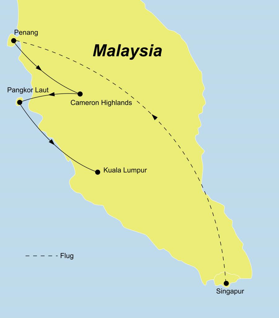 Der Reiseverlauf zu unserer Reise Singapur Malaysia Deluxe startet in Singapur und endet in Kuala Lumpur.