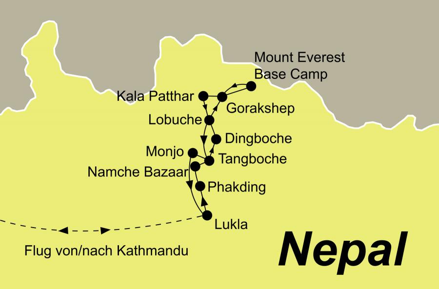 Die Nepal Trekkinig Rundreise führt von Kathmandu, Lukla, Phakding, Namche Bazaar, Tangboche, Dingboche, Lobuche, Ghorakshep, das Mount Everest Base Camp, den Kala Patthar Gipfel, Lobuche, Tangboche, Monjo und Lukla wieder zurück nach Kathmandu.