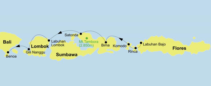 Die Indonesien Kreuzfahrt führt von Labuan Bajo (Flores) über Melo, Kelor Island, Rinca, Pink Beach, Komodo, Gili Lawa Darat, Banta, Vulkaninsel Satonda, Moyo, Lombok, Nusa Penida / Nusa und Lembongan / Amuk Bay nach Bali.