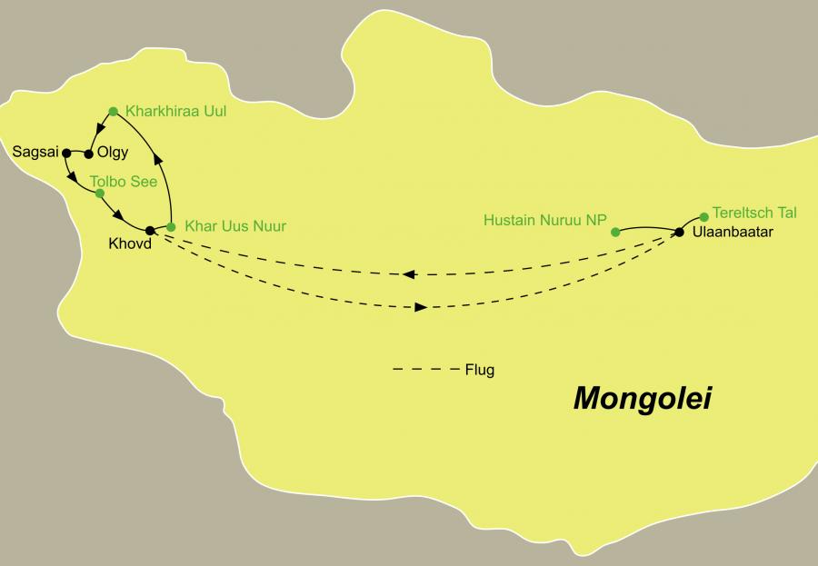 Die Reise Mongolei zum Adlerfest fürht von Ulaanbaatar nach Tereltsch über Olfy und den Hustain Nuuru Nationalpark