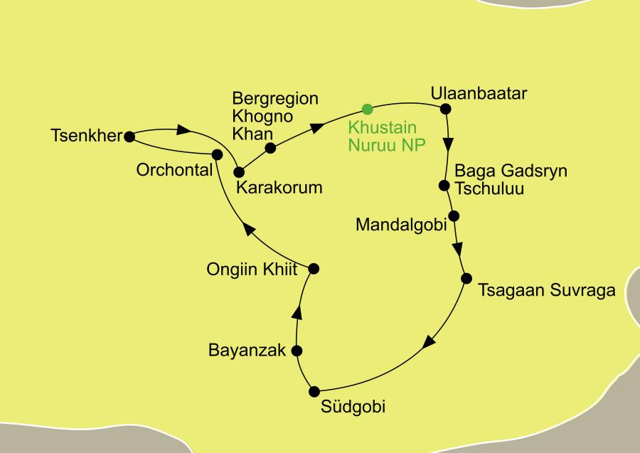 Die Mongolei Rundreise führt von Ulaanbaatar über Baga Gadsryn Tschuluu, Mandalgobi, Tsagaan Suvraga, die Südgobi, Bayanzak, Ongiin Khiit, Orchontal, Tsenkher, Karakorum, die Bergregion Khogno Khan und über den Khustain Nuruu Nationalpark wieder zurück nach Ulaanbaatar.
