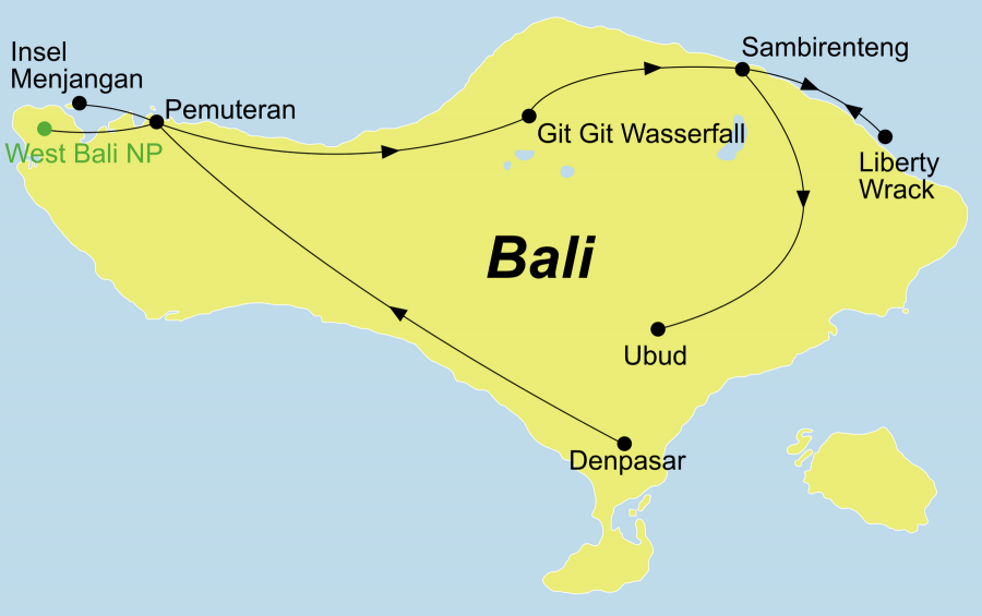 Der Reiseverlauf zu unserer Indonesien Reise Bali Gruppenreise – Tauchen, Wellness & Kultur startet in Denpasar und endet in Ubud.