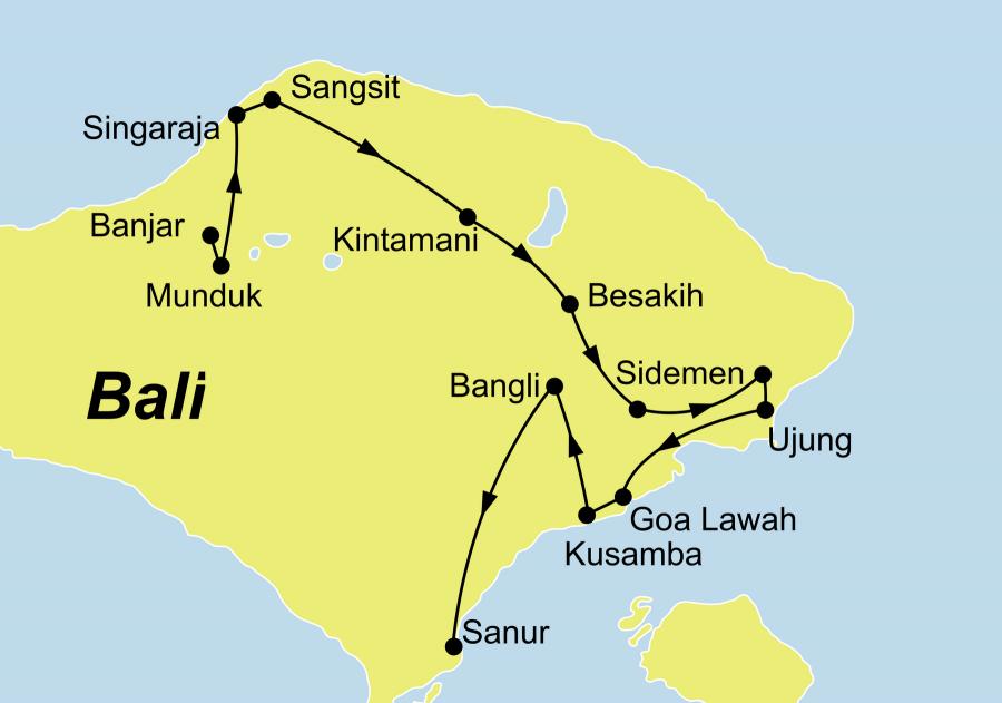 Der Reiseverlauf unserer Bali Aktiv erleben Reise führt von Banjar über Munduk, Singaraja, Sangsit, Kintamani, Besakih, Sidemen, Tirtagangga, Amplapura, Ujung, Pasir Putih, Hoa Lawah und Kusamba nach Bangli Sanur.