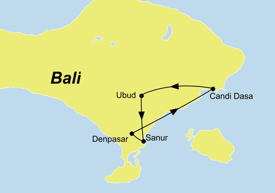 Die Zauberhaftes Bali Rundreise führt von Denpasar über Candidasa und Ubud nach Denpasar