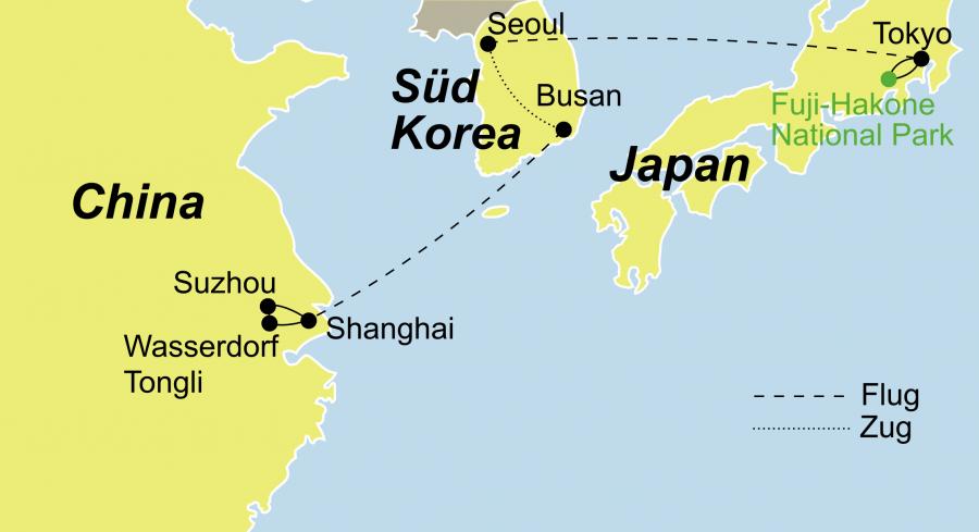 Die Ostasien Tour führt Sie von China über Korea bis Japan