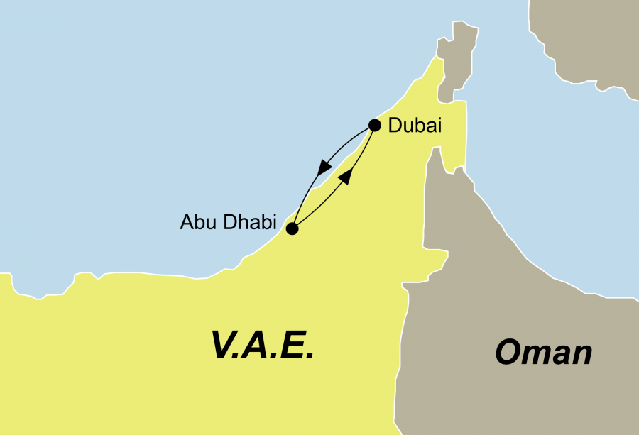 Reiseroute der VAE Rundreise führt Sie von Dubai nach Abu Dhabi