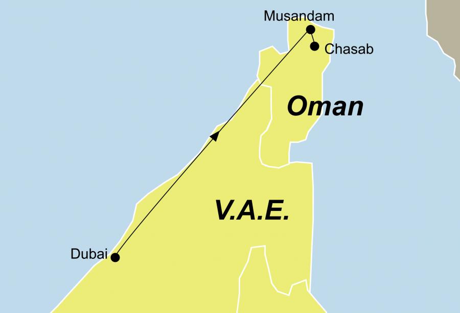 Die Dubai und Oman Rundreise führt von Dubai über Chasab nach Musandam