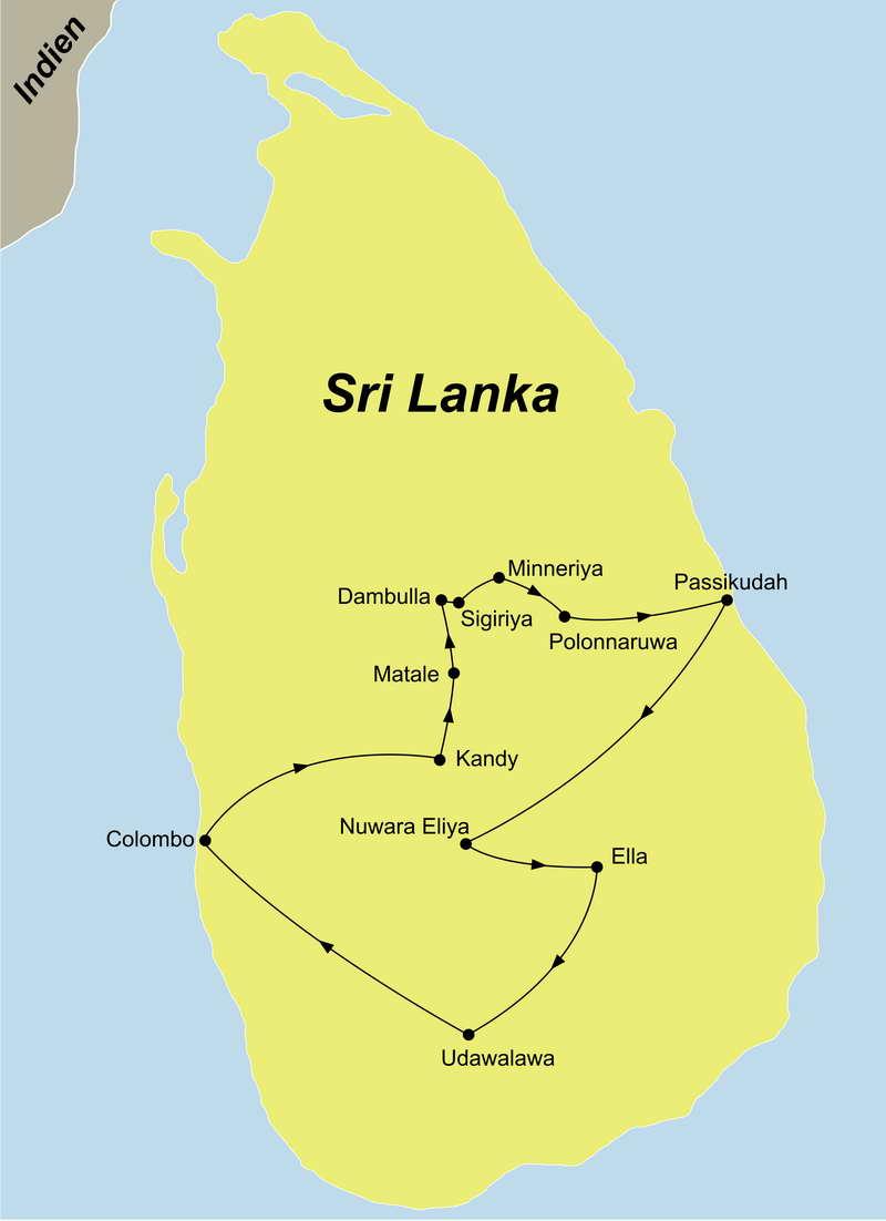 Die Sri Lanka Rundreise mit Baden an der Ostküste führt von Colombo nach Kandy über Dambulla an die Ostküste zum Baden und über Nuwara Eliya und Ella zurück nach Colombo.