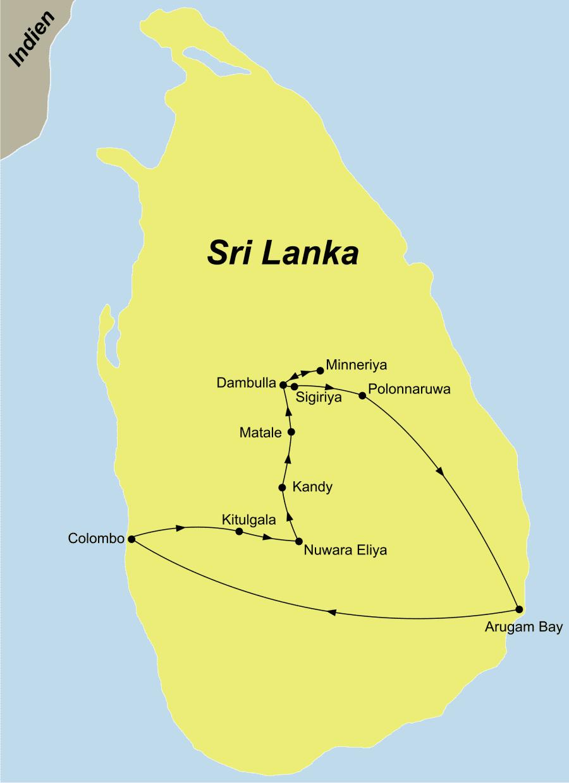 Die Sri Lanka Rundreise Sri Lanka Aktiv führt von Dambulla über Sigiriya und Colombo und Kandy zurück nach Dambulla.