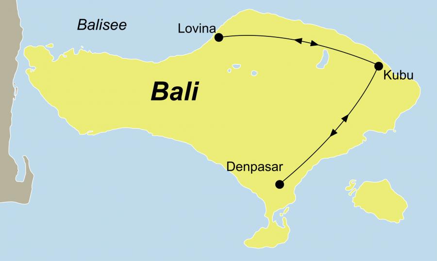 Reiseroute der Bali Gruppenreise Yoga & Tauchen