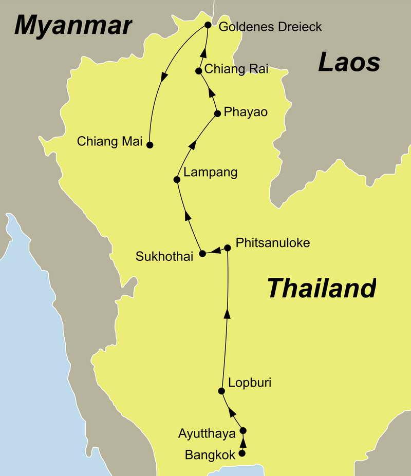 Reiseroute Von Bangkok in den Norden