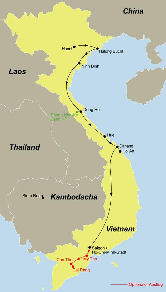 Die Vietnam Rundreise Vietnam Light geht von Hanoi über Dong Hoi und Hue und Hoi An nach Saigon