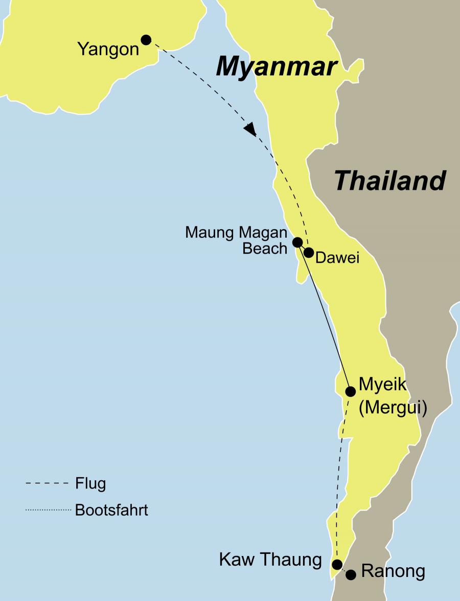 Die Zauberhaftes Südmyanmar Rundreise führt von Yangon über Dawei, Maung Magan Beach, Myeik, das Mergui (Myeik) Archipel und Kaw Thaung nach Ranong (Thailand).