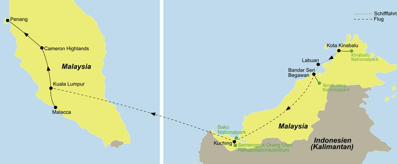 Ihre Reise Naturwunder Malaysia und Brunei entdecken führt von Kota Kinabalu über Kuching nach Kuala Lumpur und Penang