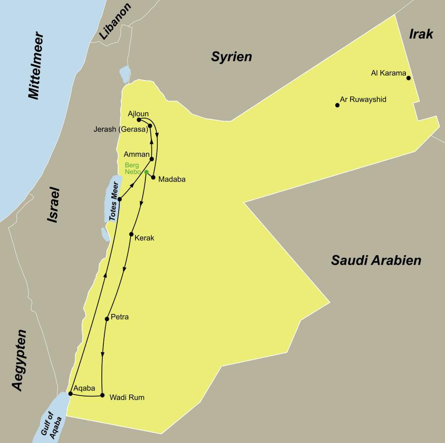 Der Reiseverlauf zu unserer Jordanien Reise Jordanien Kompakt startet und endet in Amman.