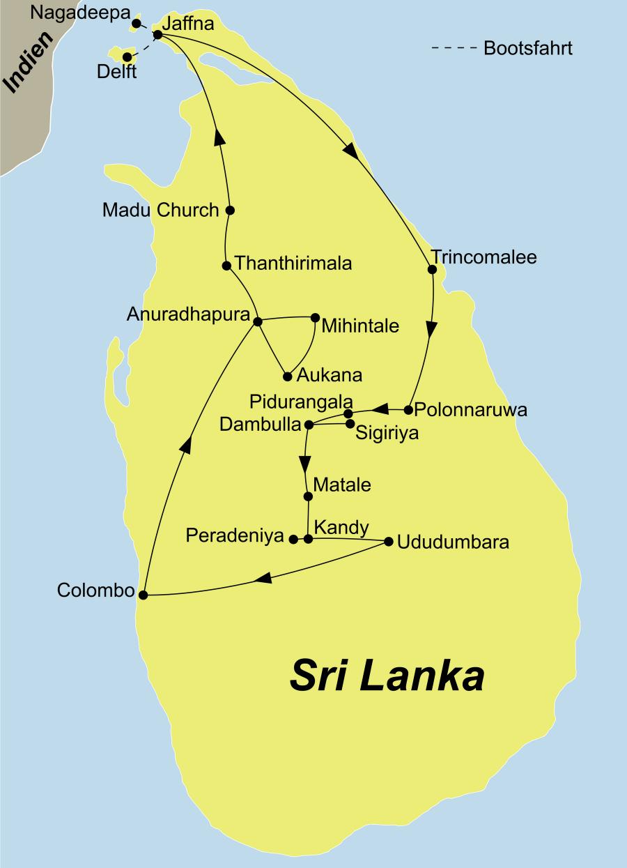 Die Sri Lanka Meditationsreise führt von Colombo über Anuradhapura, Jaffna, Nagadeepa, Trincomalee, Polonnaruwa, Dambulla, Sigiriya, Matale, Kandy und Ududumbara wieder zurück Colombo.
