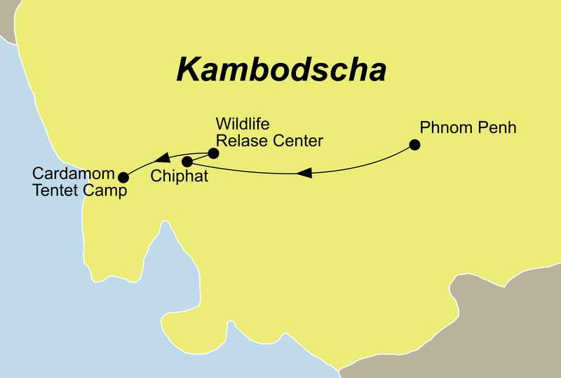 Ihre Kambodscha Reise Wildlife Pass führt Sie von Phnom Penh über das Wildlife Release Center in die Kardamonberge