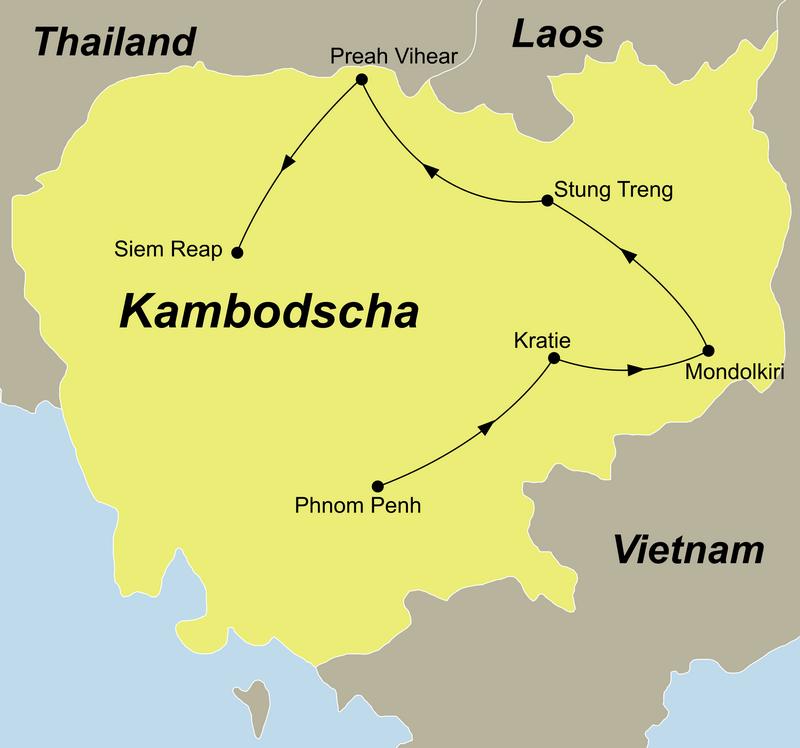 Reiseroute Kambodscha Abseits der Touristenpfade mit Mondulkiri führt Sie von Phnom Penh über Kratie und Preah Vihear nach Siem Reap