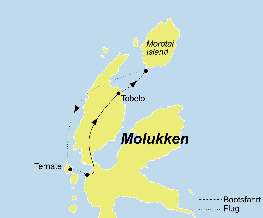 Die Molukken Inseln Rundreise führt von Ternate über Tobelo und Morotai Island wieder zurück nach Ternate.