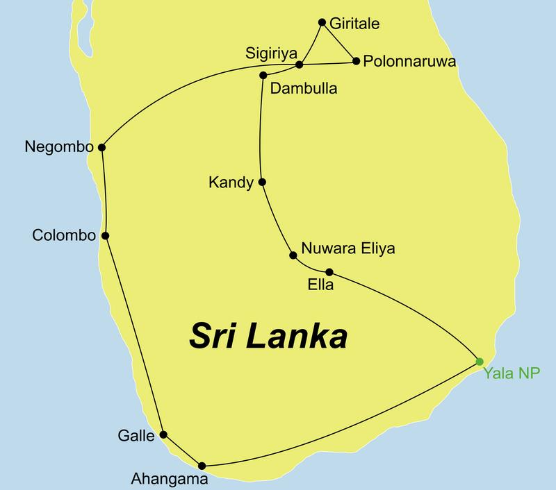 Der Reiseverlauf unserer Gruppenreise Sri Lanka Land und Leute führt von Negombo an der Westküste über das Landesinnere an die Südküste von Sri Lanka
