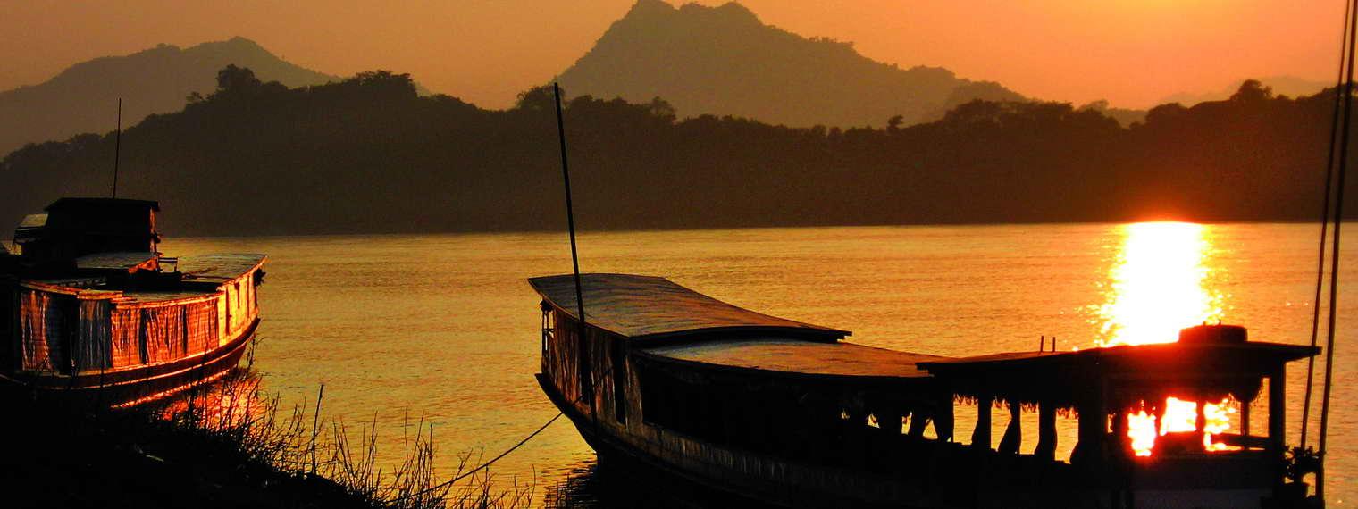 Sonnenuntergang auf dem Mekong, Vietnam
