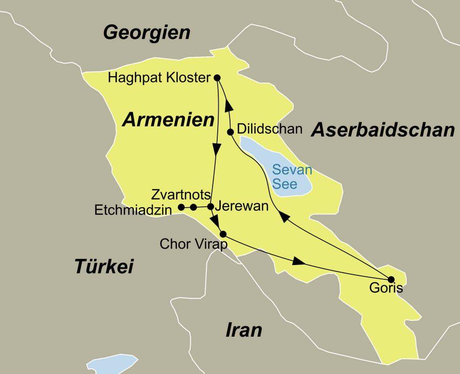 Die Armenien Rundreise führt von Jerewan über Chor Virap, Goris, Sevan See, Dilidschan, Haghpat Kloster, Jerewan, Etchmiadzin, Zvartnots nach Jerewan