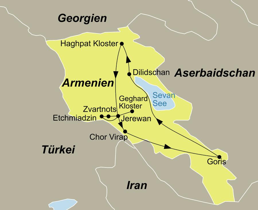 Die Reiseroute der Armenien Gruppenreise in die Wiege des Christentums führt von Jerewan über Etchmiadzin, Zvartnots, das Geghard Kloster, Chor Virap, Goris, den Sevan See, Dilidschan und das Haghpat Kloster wieder zurück nach Jerewan.
