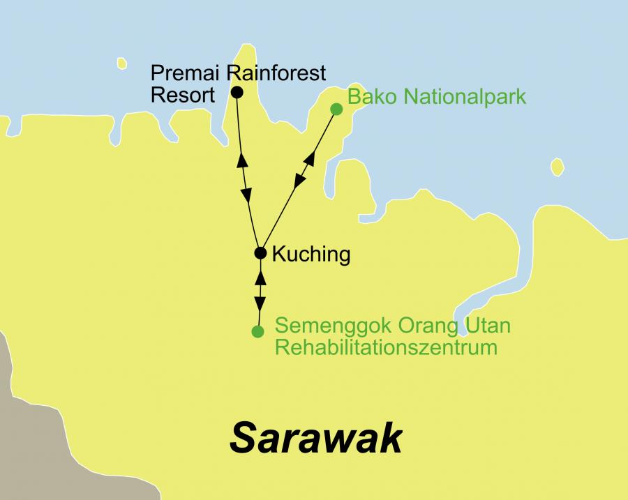 Die Borneo Rundreise führt von Kuching über das Semenggok Orang Utan Rehabilitationszentrum