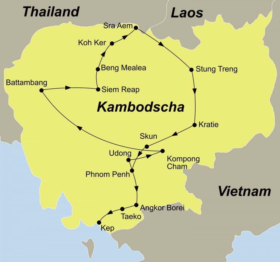 Reiseroute Unbekanntes Kambodscha führt Sie von Phnom Penh nach Kep