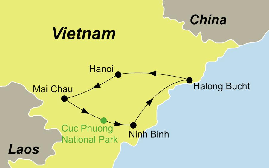 Reiseroute Vietnams Norden und die Halongbucht