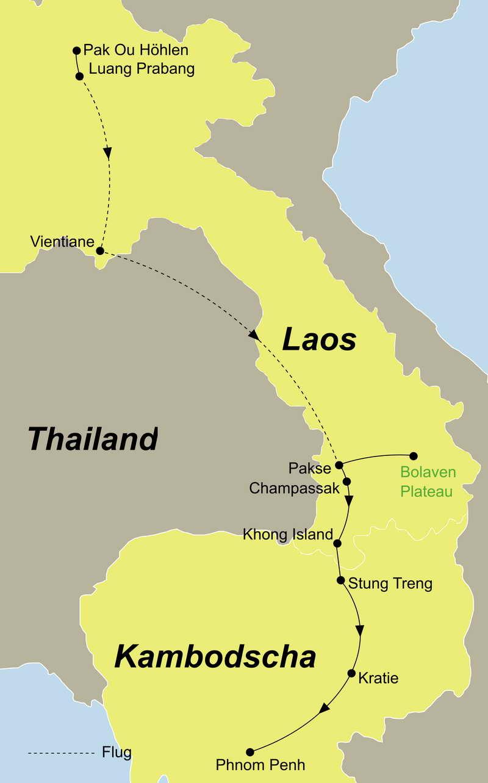 Die Reiseroute Laos und Kambodscha intensiv erleben führt Sie von Luang Prabang über Khong Island nach Phnom Penh
