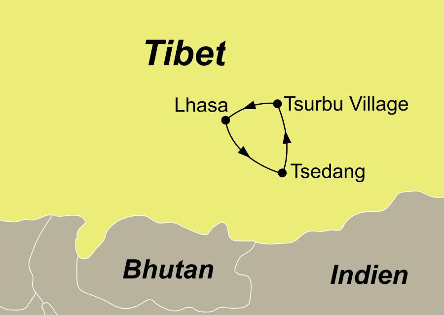 Die Reiseroute der Reise die Wiege der tibetischen Kultur führt von Lhasa über Tsedang und Tsurbu Village wieder zurück nach Lhasa.