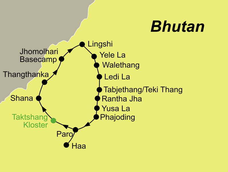 Die Reiseroute Bhutan Jomolhari-Naro Trek führt Sie von Paro über Walethang zurück nach Paro